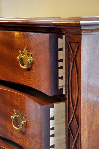 mahogany serpentine chest of drawers built by james huggett showing dovetails