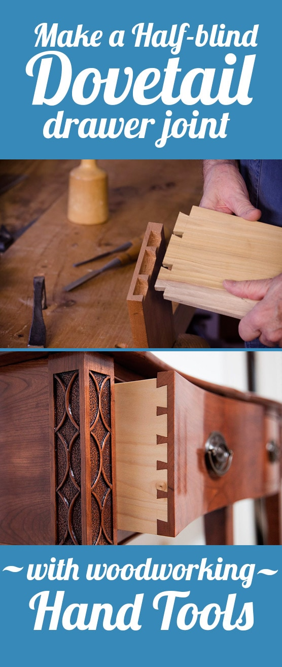 Graphic Make a Half-blind Dovetail drawer joint with woodworking hand tools