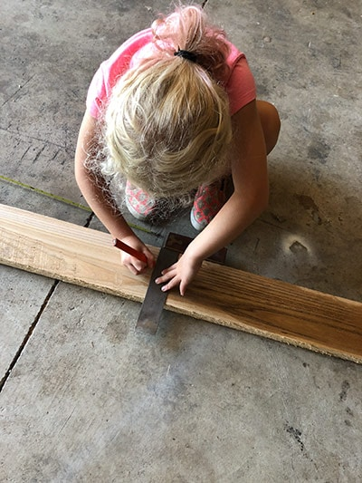 Erik Florip Toolworks Woodworking Hand Tools Little Girl Using A Try Square And Pencil To Mark Wood