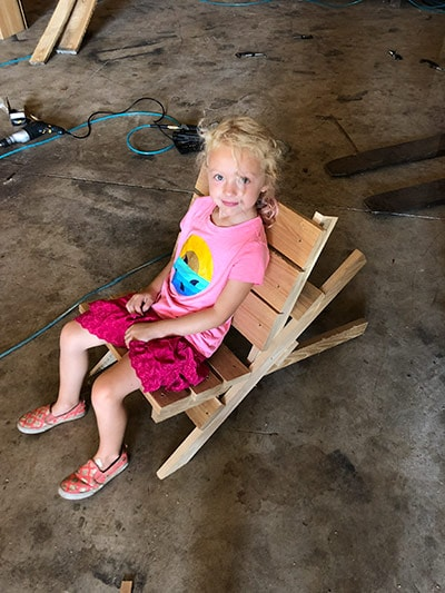 Erik Florip Toolworks Woodworking Hand Tools Little Girl Sitting In Workshop Helping Her Father