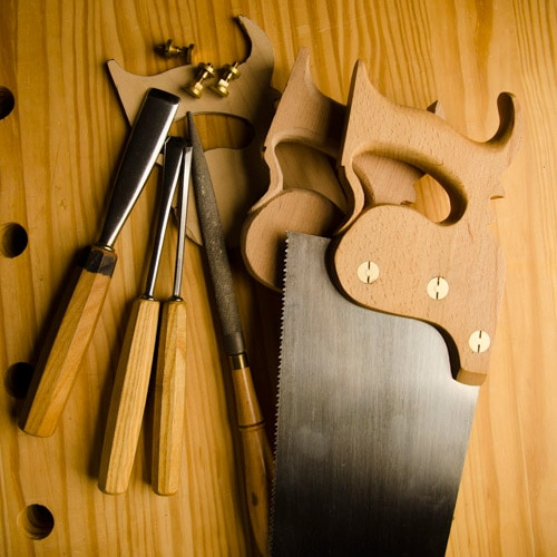 Stages Of Making A Panel Saw With Gouges &Amp; Tools