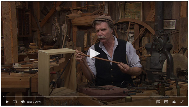 Video player showing roy underhill pinch rod video on woodwright's shop