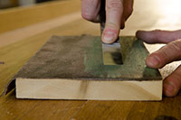 Stropping A Woodworking Wood Chisel On A Leather Stop Is The Last Chisel Sharpening Step