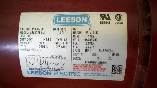 Leeson motor diagram