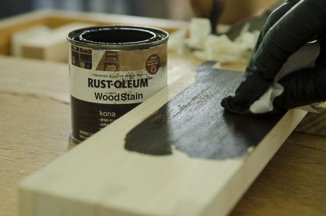 Staining A Poplar Board With A Can Of Wood Stain