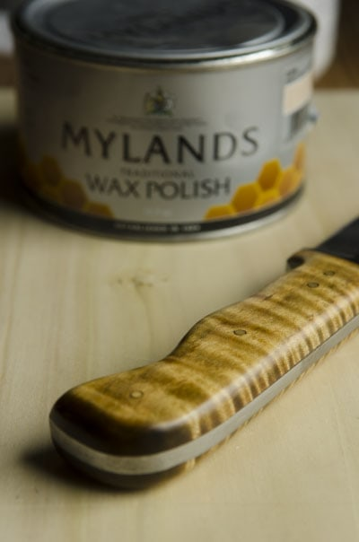 Mylands wax polish with a tiger maple knife