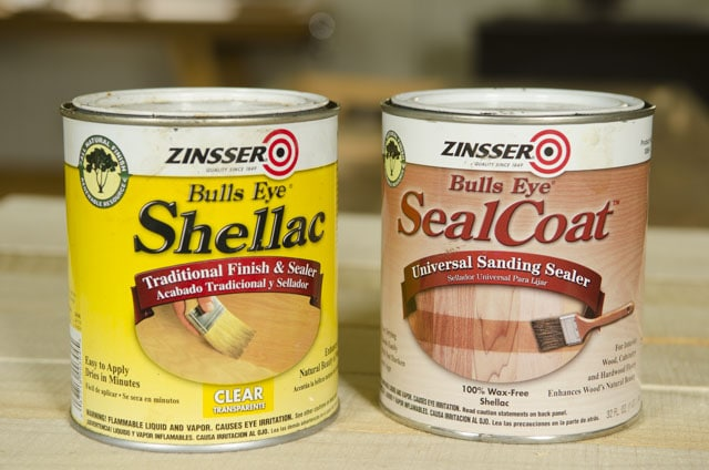 Two cans of Zinsser Bulls eye shellac traditional and seal coat