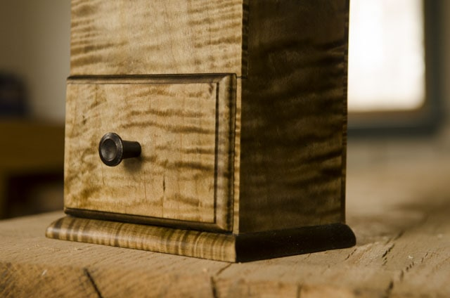 Figured maple or tiger striped maple candle box