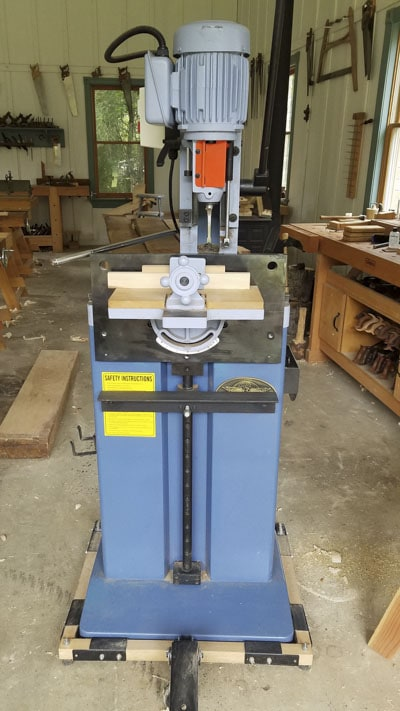 Oliver hollow chisel mortiser in a woodworking workshop