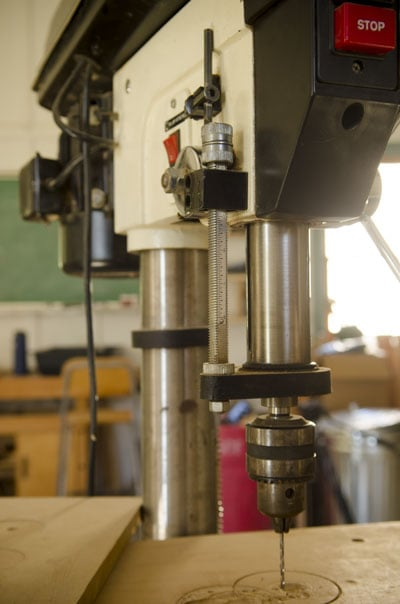 Showing the spindle travel of a JET drill press