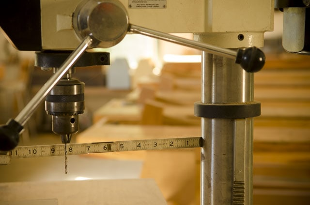 Folding rule measuring swing of a JET drill press