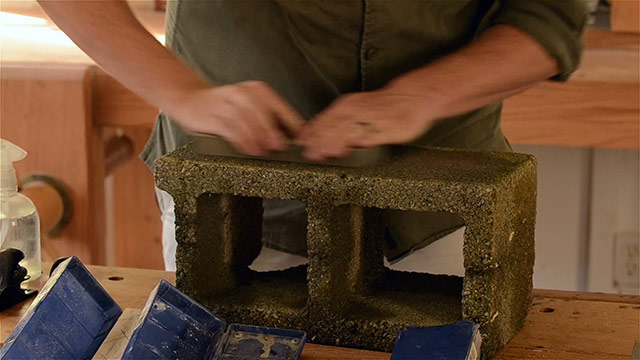 Lapping a water stone on a cinder block