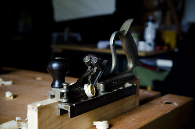 Stanley No. 48 Tongue & Groove plane on a board