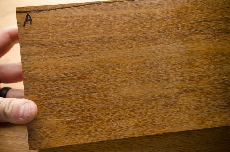 Exotic hardwood lumber sample boards for identification face grain closeup