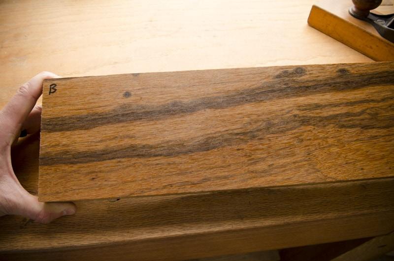 Exotic hardwood lumber sample boards for identification face grain