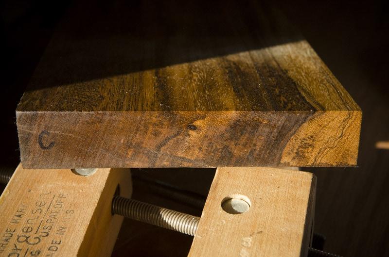 Exotic hardwood lumber sample boards for identification end grain