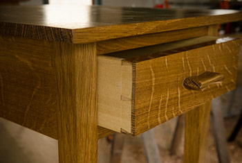 Figured white oak end table with hand cut dovetails