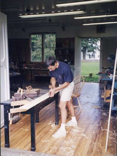 William Brown using a molding plane for furniture making