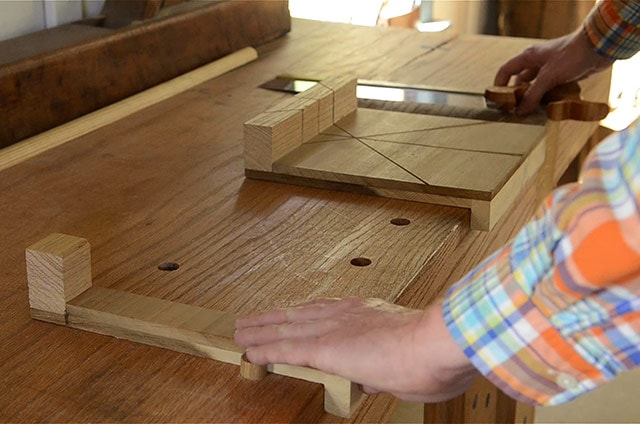 Miter bench hook on a Roubo workbench