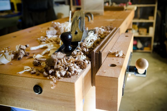 Hand Planing In The Woodworking Bench Vise Of A Sjobergs Workbench