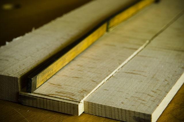Quartersawn quarter sawn beach wood lumber with a folding rule gauge