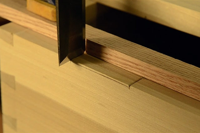 Installing butt hinges on a dovetail chest using a chisel to layout the mortise