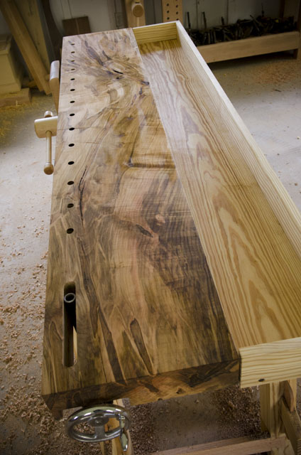 Portable Moravian Workbench Slab Top Made Out Of Ambrosia Maple