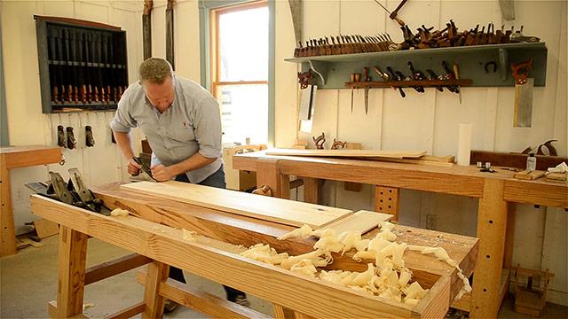 Joshua Farnsworth Handplaning A Large Board On A Moravian Workbench