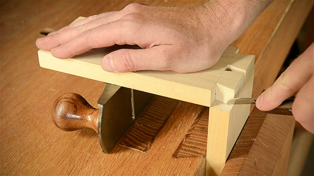 Marking Hand Cut Dovetails With A Marking Knife On A Wooden Workbench