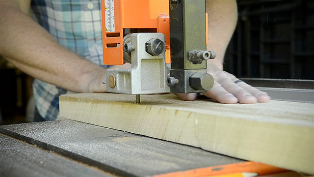 Joshua Farnsworth Ripping A Poplar Board On A Grizzly 17 Inch Band Saw For Building A Dovetail Box