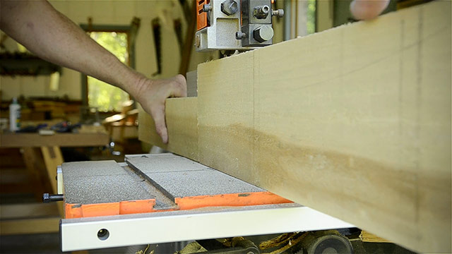 Joshua Farnsworth Resawing A Poplar Board On A Grizzly 17 Inch Band Saw For Building A Dovetail Box