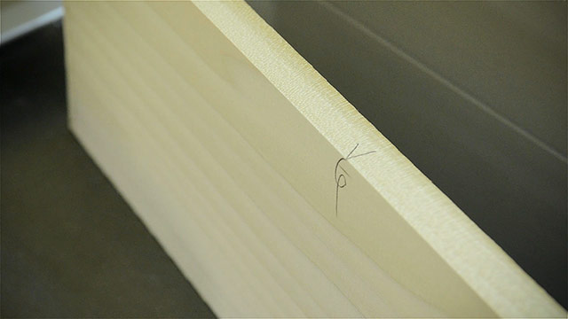 Lumber Square Edge Marks With A Pencil On A Board