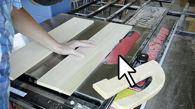 Joshua Farnsworth Ripping Poplar Lumber Boards On A Saw Stop Cabinet Table Saw With A Wooden Push Stick