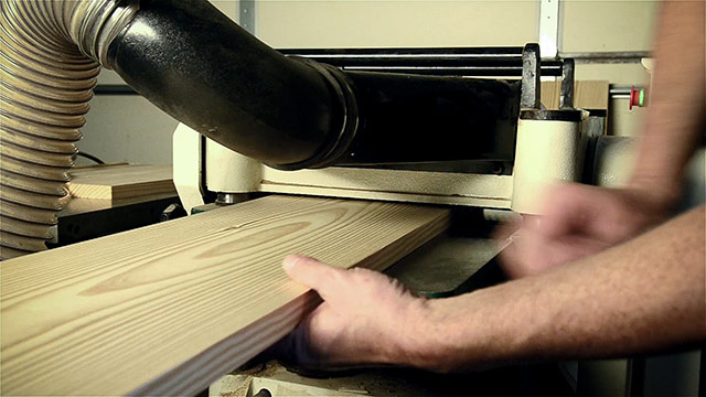 Thickness Planer Planing A Wide Board On A Thickness Planer