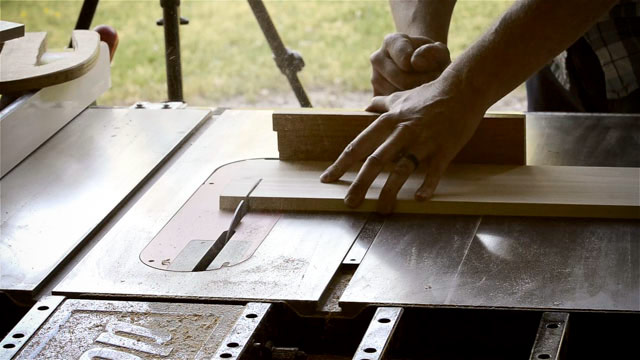 Joshua Farnsworth Cross Cutting A Board On A Sawstop Table Saw The Best Table Saw For Beginners