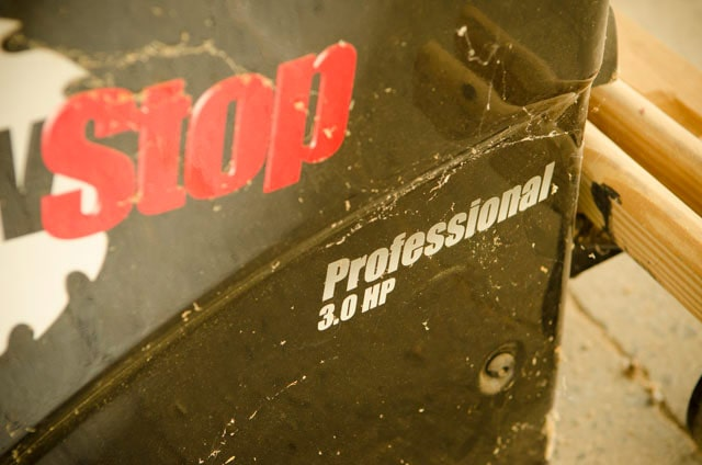 Sawstop Table Saw Horse Power Label