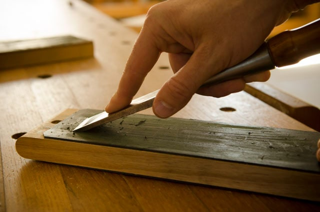Chisel Sharpening With A Leather Strop On A Moravian Workbench