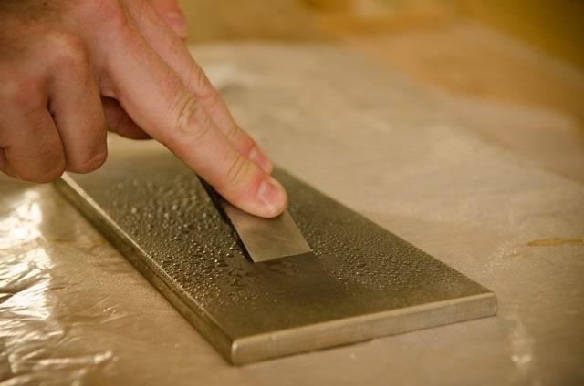 Chisel Sharpening On A Diamond Sharpening Stone